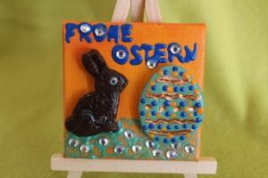 Minibild Collage  FROHE OSTERN Geschenk zu Ostern Osterdeko  Deko Hase Osterei Minikeilrahmen Osterhase   - Handarbeit kaufen
