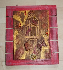 Collage Acrylbild BIRDCAGE Shabby Stil Steampunk Gothic Malerei Holzbild - Handarbeit kaufen