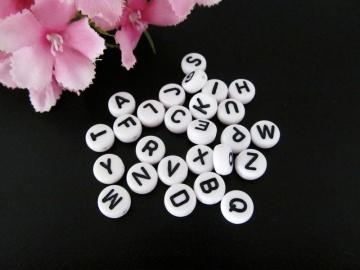100 Buchstabenperlen 7mm, aus Acryl, Zufalls-Mischung* - Handarbeit kaufen