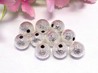 50 Stardust Metallperlen, 10mm Durchmesser, Farbe silber - Handarbeit kaufen