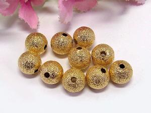 50 Stardust Metallperlen, 8mm Durchmesser, Farbe gold - Handarbeit kaufen