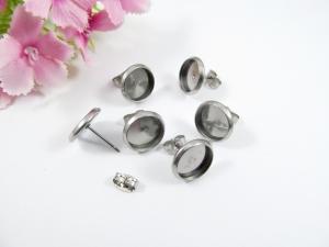 10 Edelstahl Ohrstecker Rohlinge für 10mm Cabochons, mit Ohrmutter Verschluss - Handarbeit kaufen