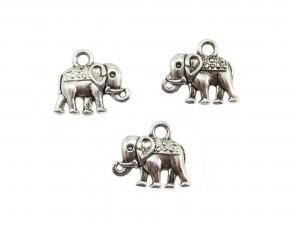 10 Elefant Anhänger / Charm, Farbe silber antik