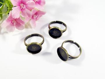 5 Ring Rohlinge für 12mm Cabochons, Farbe bronze - Handarbeit kaufen