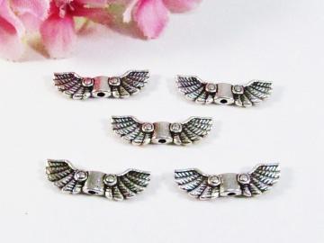 50 Flügel Perlen 'Inka', Farbe silber antik