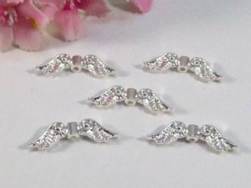 50 Flügel Perlen 'Schwan', Farbe silber
