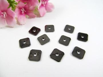 10 Spacer / Zwischenperle Quadrat 8x8mm, Farbe schwarz - Handarbeit kaufen
