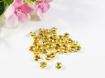 300 Kaschierperlen / Crimp Cover 4mm, Farbe gold - Handarbeit kaufen