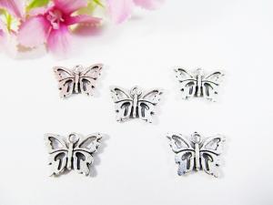 15 Schmetterling Anhänger / Charm, Farbe silber antik