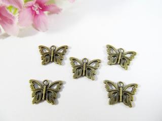 15 Schmetterling Anhänger / Charm, Farbe bronze