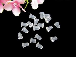 300 Ohrmuttern / Ohrstopper aus  Gummi Silikon, transparent - Handarbeit kaufen