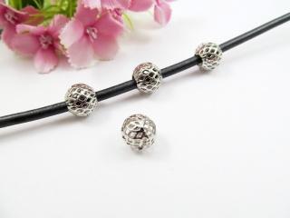 5 Großlochperlen in Gitter-Optik, 10mm, Modulperle, European Bead, Farbe platin - Handarbeit kaufen