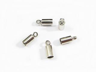 10 Endkappen für 3mm Bänder, Farbe platin