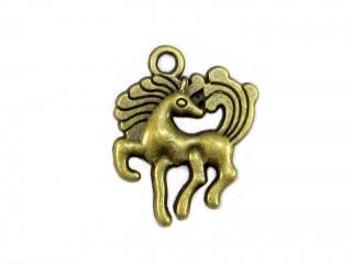 10 Pferd / Pony Anhänger Charm, Farbe bronze