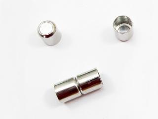 3 Magnetverschlüsse für 8mm Bänder, Magnetschließen, Farbe platin