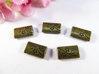 10 Metallperlen rechteckig, in Kissenform, Farbe bronze