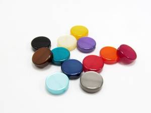 4 Polarisperlen: Coins /Scheiben 12mm glänzend, Wunsch-Mix