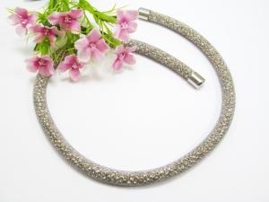 Schlauchkette / Collier 'Silver Glimmer' mit Magnetverschluss - Handarbeit kaufen