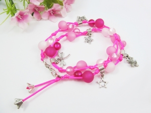 Polaris Wickelarmband in Pink - Handarbeit kaufen