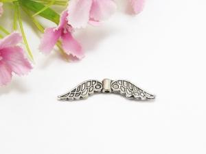 50 Flügel Perlen 32x6mm, Farbe silber antik