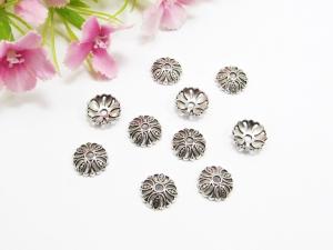 50 Perlenkappen 10mm, mit Durchbruchmuster, Farbe silber antik - Handarbeit kaufen