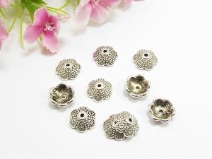 10 Perlenkappen 11,5 mm, sehr massiv, Farbe silber antik - Handarbeit kaufen