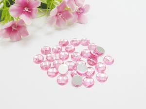 30 Cabochons aus Acryl, 8mm, facettiert, Farbe pink - Handarbeit kaufen