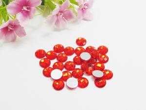 30 Cabochons aus Acryl, 8mm, facettiert, Farbe rot - Handarbeit kaufen