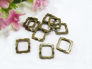 30 Rahmenperlen / Perlenrahmen, quadratisch, Farbe bronze - Handarbeit kaufen