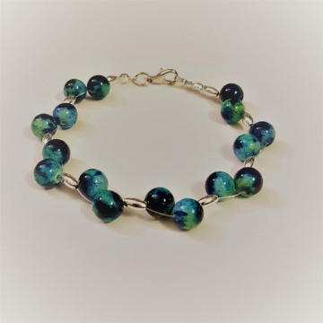 Jade-Edelstein-Armband Ocean blue, Länge ca. 19,5 cm