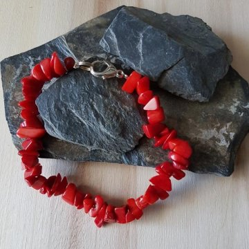 Korallen-Splitter-Armband (Edelstein) in rot, ca. 20 cm