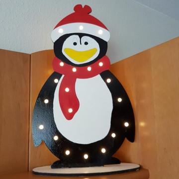 Holz-Stehfigur Winter-Pinguin, beleuchtet, Größe ca. 54 cm