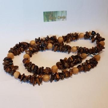 Tigeraugen-Splitter-Kette mit Polaris-Perlen, Länge ca. 68 cm