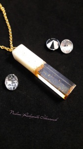 Muttermilchschmuck Kette und länglichen Formen, Zylinder, Viereck, Kristall mit Glitzer oder Blattmetall (Kopie id: 100051831)