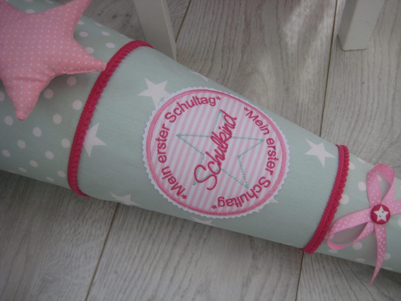Schultüte aus Stoff, personalisierbar, mint-pink-rosa