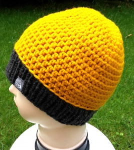 Häkelmütze mit Strickbündchen in gelb und anthrazit, unisex