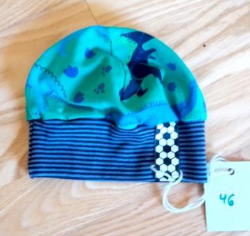 Süße Babymütze mit Dinos aus weichem Baumwolljersey,  Kopfumfang 46-50 cm