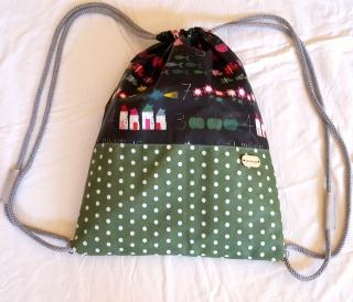 Turnbeutel für Damen (oder Kinder!) mit Schulmotiv aus beschichteter Baumwolle