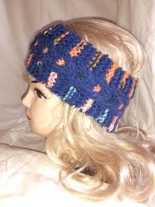 Warmes, gestricktes Zopfstirnband in jeansblau und rosa-orange-bunt für Damen