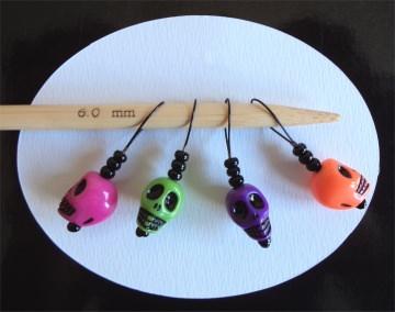 4er Set Maschenmarkierer Skulls, Farbmix 001, Handarbeit