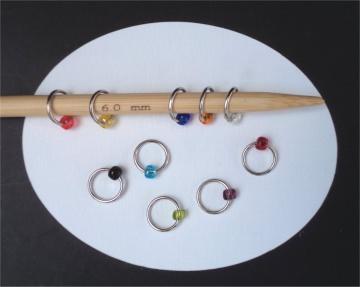 10er Set Maschenmarkierer Lace-Ringe, Farbmix 001, Handarbeit