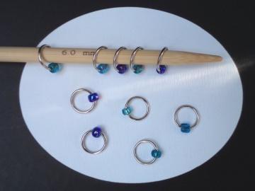 10er Set Maschenmarkierer Lace-Ringe, Farbmix 002, Handarbeit