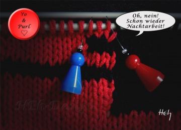 Postkarte Foto Maschenmarkierer Yo & Purl: Nachtarbeit, Stricken