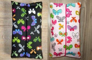 Wickeltasche FARBWAHL! Windeltasche Babygeschenk Baby Unterwegs Windeletui mit Schmetterlingen schwarz oder weiß