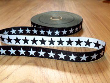 Webband Bordüre Borte Kordel Schlüsselband Bastelband Sterne Schwarz Weiß Applikation