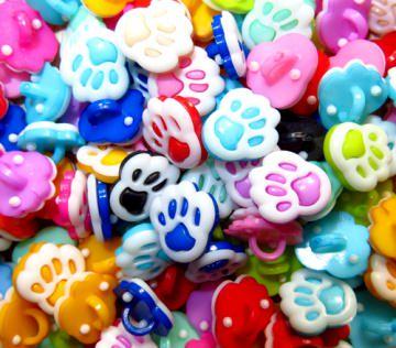 10 bunte Kinderknöpfe Ösenknöpfe Pfote Paw Hund Katze Knöpfe zum Basteln und nähen  (Kopie id: 30834) (Kopie id: 30849) (Kopie id: 30854)