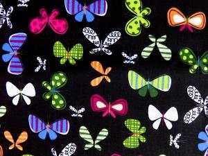 50cm Baumwollstoff 100% Baumwolle Meterware Kinderstoff Hergestellt nach ÖkoTex100 bunte Schmetterlinge schwarz