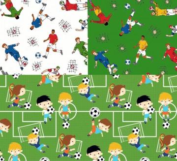 50cm Baumwollstoff 100% Baumwolle Meterware Kinderstoff Hergestellt in Deutschland nach ÖkoTex100 Fussball Soccer Junge Sport