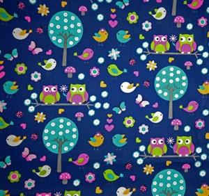 50cm Baumwollstoff 100% Baumwolle Meterware Kinderstoff Hergestellt nach ÖkoTex100 Farbwahl Eulen Schmetterlinge, Bäume, Pilze