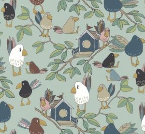 50cm Baumwollstoff 100% Baumwolle Meterware Kinderstoff Hergestellt nach ÖkoTex100 Vögel Vogelhaus Wald Raben türkis